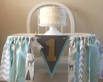 Woodland, Deer, 1st Birthday, First Birthday, High Chair Banner, High Chair Garland
