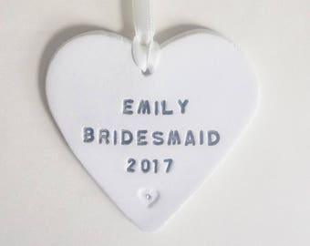Personalised Bridesmaid Gift, Wedding Party Present, Personalized Bridesmaid Gift, Clay Heart, Wedding Memento, Keepsake, Old Flour House