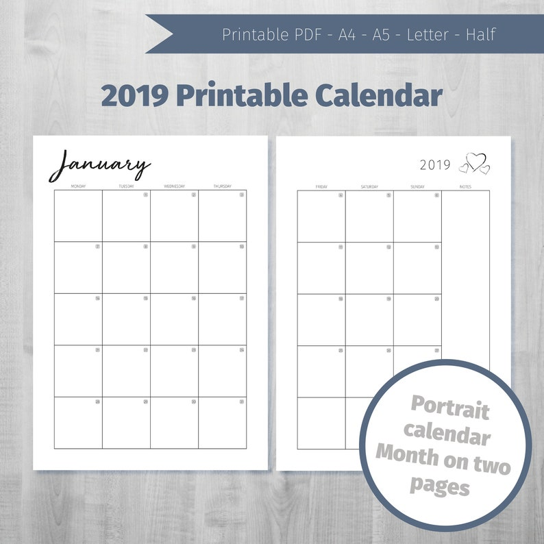photograph about Printable Calendar by Month named Printable Calendar 2019 Every month Calendar 2019 Thirty day period upon 2 web pages 2019 Month to month Planner Printable 2019 Regular monthly Calendar 2019 Portrait Calendar