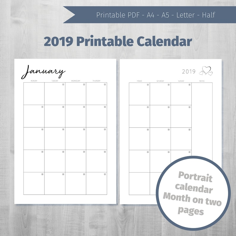 image about Printable Calendar by Month identified as Printable Calendar 2019 Regular monthly Calendar 2019 Thirty day period upon 2 webpages 2019 Regular monthly Planner Printable 2019 Regular Calendar 2019 Portrait Calendar