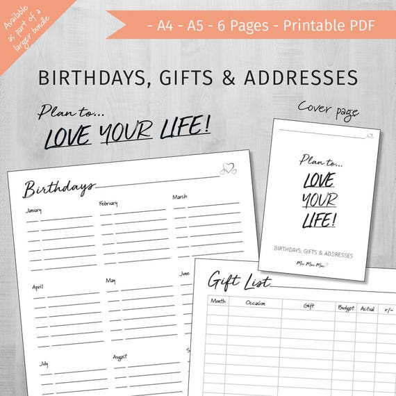 birthday list printable address book printable gift ideas etsy