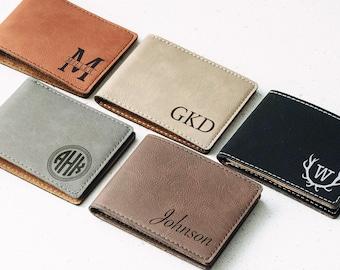 Personalized Men's Wallet, Custom Engraved Leather Wallet - Groomsmen gift, Engraved Leather Wallet, Unique Mens Gift, Monogram, Name