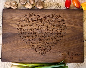 Wedding Gift,  Corinthians 13, Personalized Cutting Board, Heart Cutting Board, Anniversary, Bridal Shower Gift, Gift Idea For Couple #3179