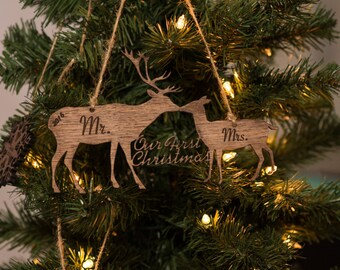 our first christmas ornament personalized wooden ornaments two deer christmas gifts for the couple newlywed gift just married mr mrs
