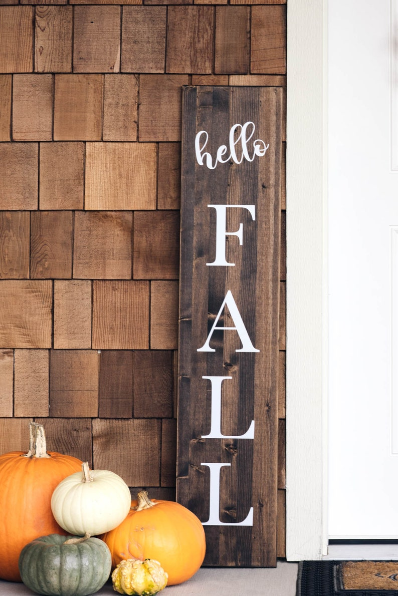 Hello Fall Sign  Welcome Sign  Thanksgiving Porch Decor  image 1