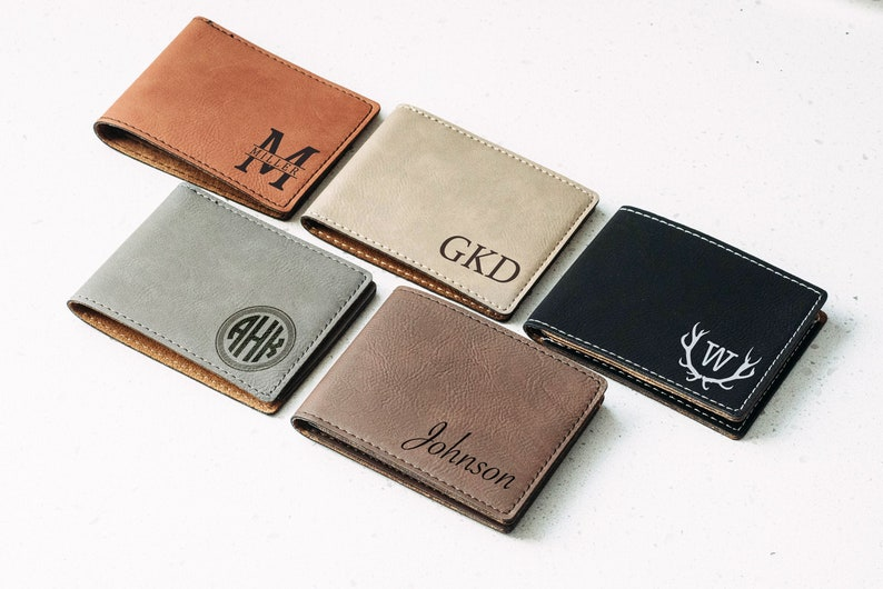 Personalized Men's Wallet Custom Engraved Leather Wallet image 1
