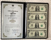 Sheet of Four Uncut Dollar Bills 2009 Government issued Padded folder from World Reserve Monetary Exchange included