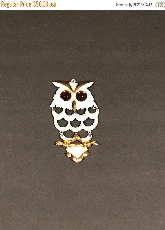 BUY ME Owl on a Branch White/Gold Metal Owl Bird P