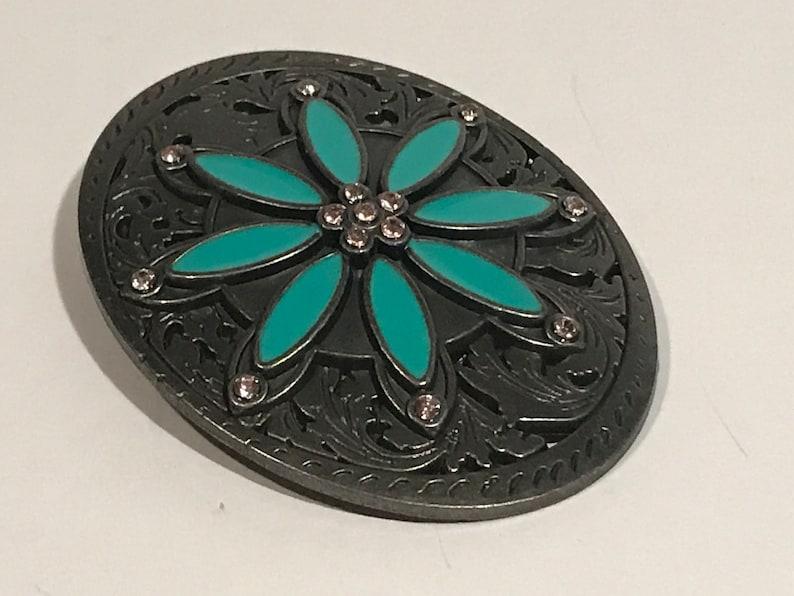SPRING SALE Green Petals Flower Enamel Rhinestones Silver Tone Metal Belt Buckle.VINTAGE Unique Rare