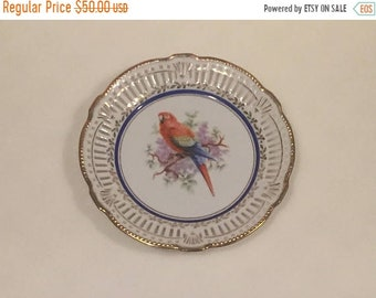 Summer Sale Vintage Schwarzenhammer Bavaria Germany Parrot Bird Pierced Porcelain Decorative Plate.VINTAGE UNIQUE RARE.Free Shipping