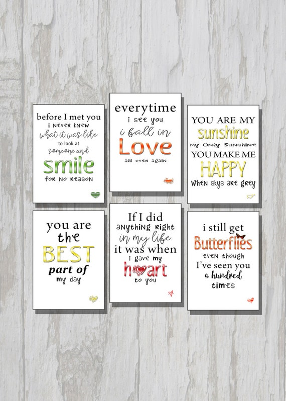 Valentine Cards Set Of 6 Husband Card Wife Card Etsy