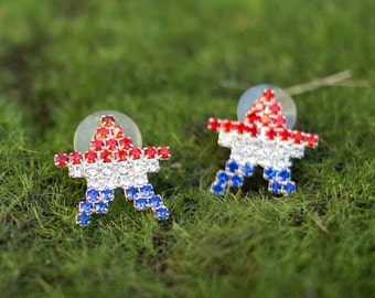 VINTAGE PaTRIOTIC EaRINGS/ FOURTH oF JULY/Red white and blue rhinestone stars