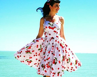 Pinup dress 'Joy dress in Cherries' PLUS Size AVAILABLE, rockabilly dress,