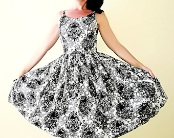 Pinup dress 'Haley dress Skull lace' HALLOWEEN Ready to ship, PLUS size AVAILABLE, rockabilly dress