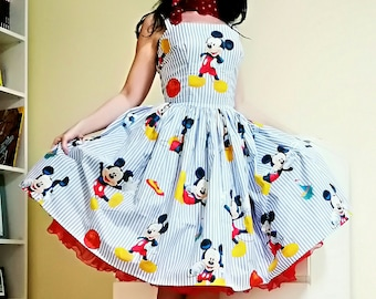 Pinup dress 'Daisy dress Mickey', Disney dress, gathered skirt, rockabilly Mickey Mouse