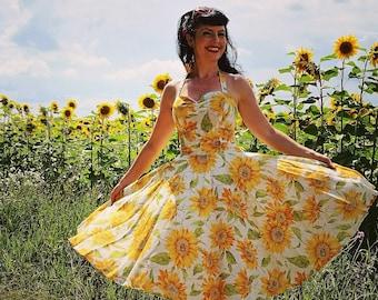 2a0be73b45b9 Pinup dresse 'Joy dress in vintage sunflowers'