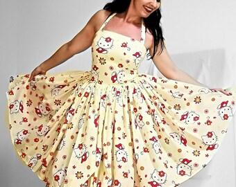c79c44813 Pinup dress 'Daisy dress Hello Kitty' Ready to ship
