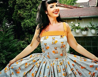 Pinup dress 'Daisy dress Foxy' Ready to ship, PLUS SIZE AVAILABLE, rockabilly dress