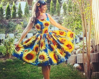 Pinup dress 'Amelia dress in Amazing Sunflowers', border print rockabilly dress