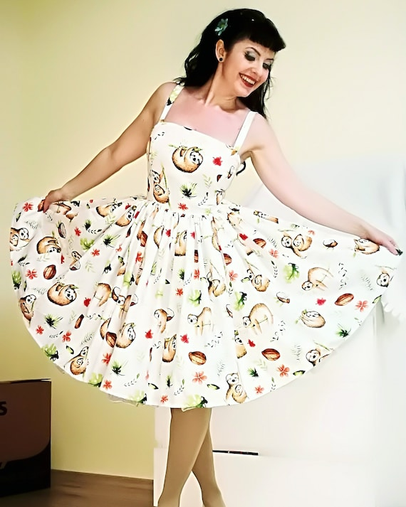 Pinup dress \'Picnic dress Sloth\' Ready to ship, PLUS SIZE AVAILABLE,  rockabilly dress