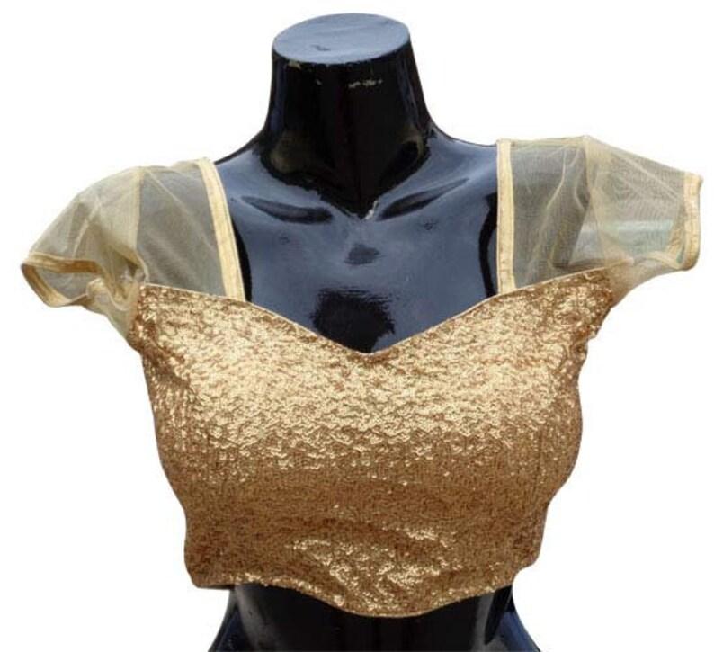 Sari top for women Readymade  Golden Blouse top net Saree Blouse