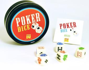 Poker Dice   Dice Game   Colored Poker Dice in Graphic Black Tin