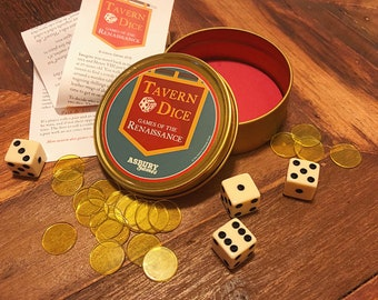 Tavern Dice Game   Games of the Renaissance   Medieval   Family Game Night Fun   Pocket Game in Metal Tin