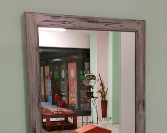 Wall mirror with wooden frame Vintage 70s restored and finished with shabby chic technique Italian Craftsmanship
