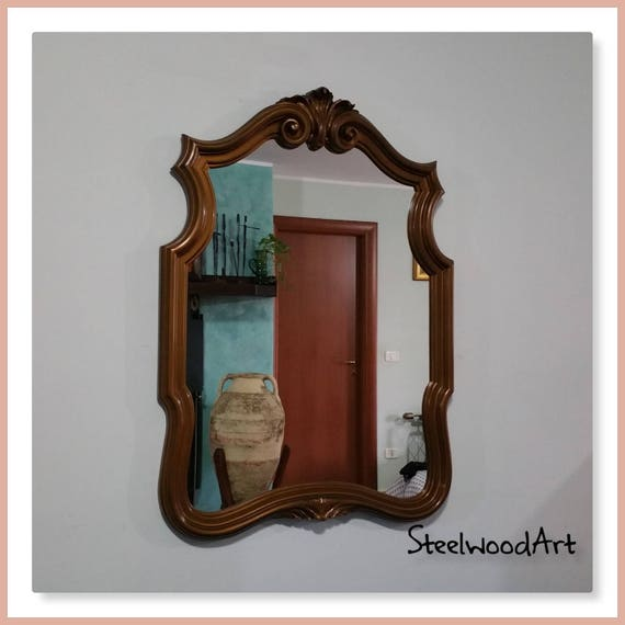 Antique Mirror With Hand Carved Frame 70s Baroque Style Etsy