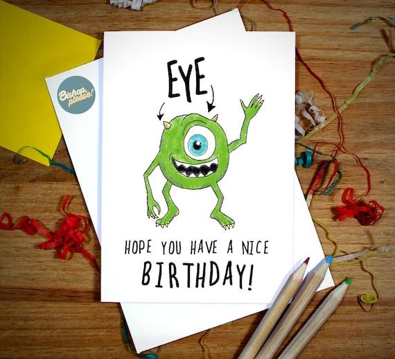 Mike Wazowski Eye Funny Birthday Card Monsters Inc Pixar Etsy