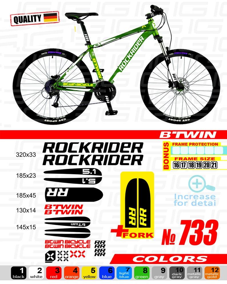 88eace003 BTWIN rockrider sticker bike frame autocollant btwin bicycle