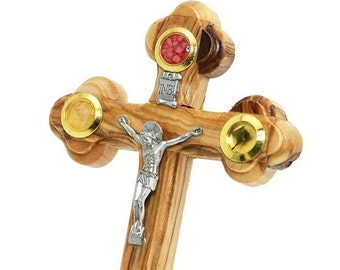 Bethlehem Olive Wood Orthodox 14 Stations Wall Cross 4 Lens Crucifix with Holy Essences