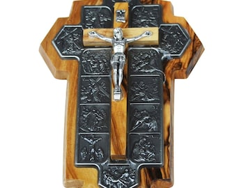 Bethlehem Olive Wood Crucifix w/Icons Showing 14 Stations of the Cross Etched on Metal 5.5""
