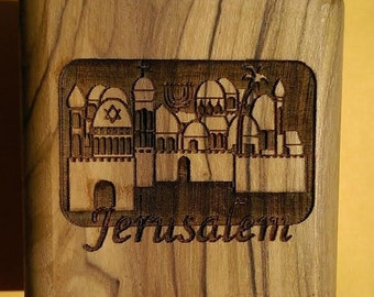 Bethlehem Olive Wood Hand-Carved Jerusalem City View Jewelry Box