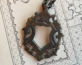 Dramatic Regal Shield Crest - LARGE Statement Pendant - Antiqued Bronze on Heavy, Oxidized, Sterling Silver Cable Chain