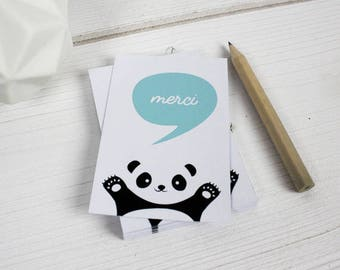 Set of 18 mini thank you cards illustrated with a panda