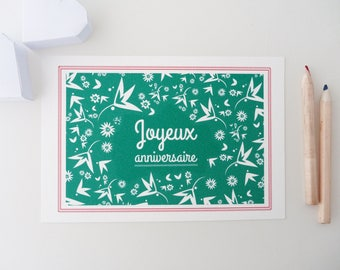 """""""Happy birthday"""" card illustrated with small white flowers"""