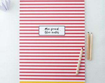 Large Notepad spirit with red and white stripes