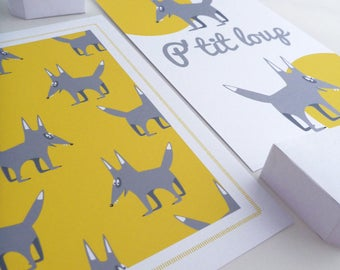 Set of four illustrations for children with a little Grey Wolf