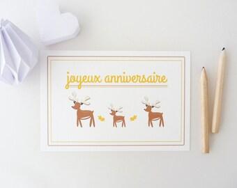 """Happy birthday"" little deer illustrated card"