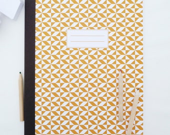 Large golden yellow and white Scandinavian patterned 20x28cm notebook