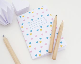 Mini A7 notebook illustrated with little hearts