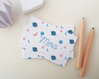 Set of 18 mini small planets illustrated thank you cards
