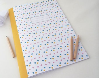 Large illustrated 20x28cm notebook with little hearts
