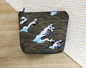 Japanese print make-up bag, zipper pouch, travel bag, cosmetic bag, gift for her