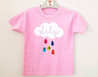 39aed4d4 Personalised Cloud Raindrop Rainbow Tshirt , Pretty top for a girl, Rainbow  Baby outfit, Pink T Shirt