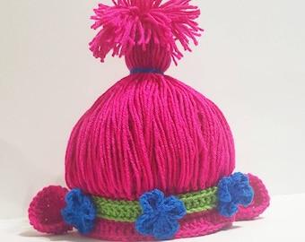 Poppy troll Inspired hat . Troll hat . Troll wig . Trolls inspired hat