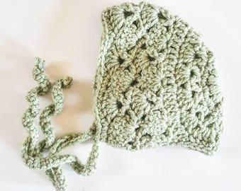 Baby Bonnet . Crocheted Bonnet CLEARANCE