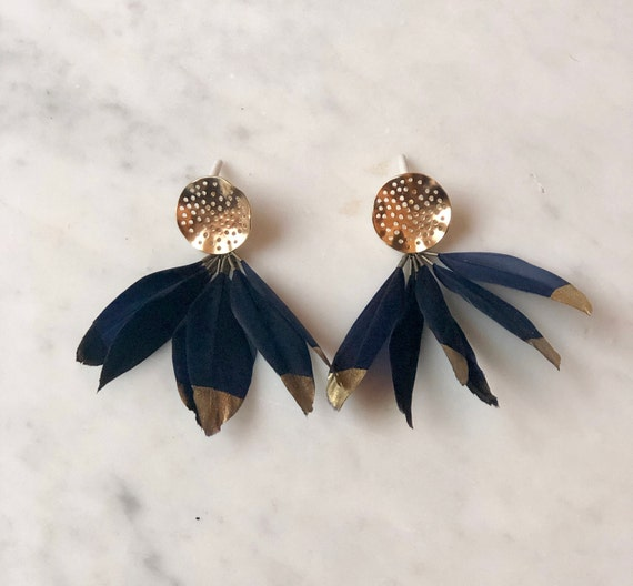 Feather Earbobs - Navy Blue