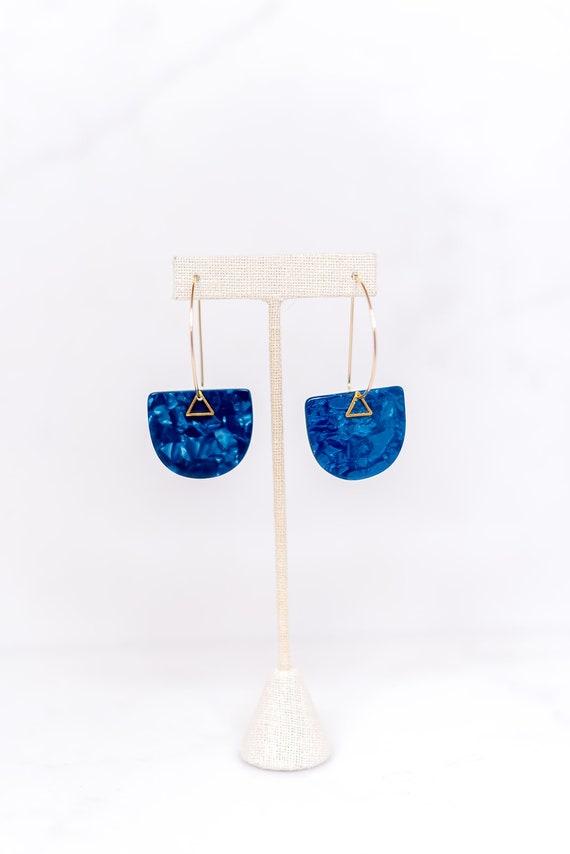 Acetate Earbob - Blue